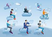 Il cloud computing uomini seduti in nubi con icone — Vettoriale Stock