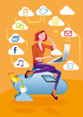 Cloud Computing Woman With Laptop — Stock Vector