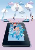 Tableta digital de trampolín buceo mujer — Vector de stock