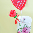 Stock Photo: Man-made candy rose in vase