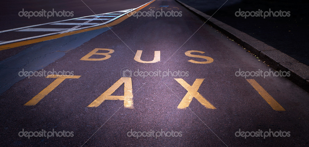 Street with special lane for bus and taxi in autumn — Stock Photo #8110671