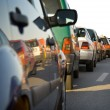 Cars in rush hour with traffic at dawn — Stock Photo