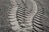 Tire print in sand — Stock Photo