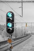 Railway light signal — Stock Photo