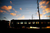 Train at sunset — Stockfoto