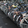 Row of parked bicycles — Stock Photo