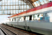 Train in blurred motion — Stock Photo