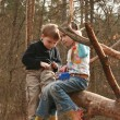 Children play outside in a forest — Stock Photo #9888021