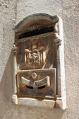 The old mailbox on the wall in the Castello quarter (the historic part of town). Cagliari — Stock Photo