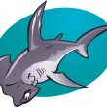 Cartoon Hammer head Shark — Stock Vector