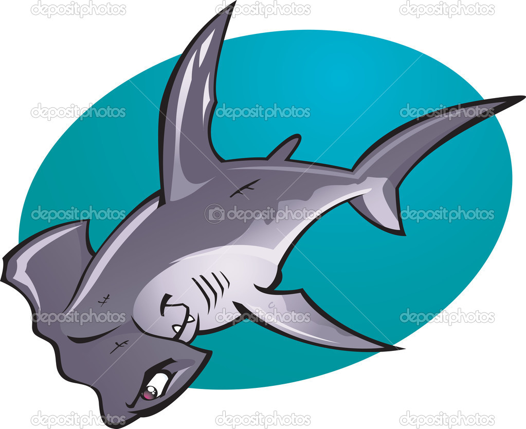 A cartoon vector illustration of the fearsome looking Deep water Hammer Head Shark. Part of a series of Various shark species. — Stock Vector #8664373