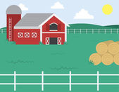 Farm with Barn — Stock Vector