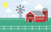 Farm scene with windmill — Stock Vector