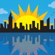 Royalty-Free Stock Vector Image: City Skyline with Sun