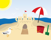 Sandcastle at the Beach — Stock Vector