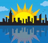 City Skyline with Sun — Stock Vector