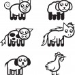 Farm Animal Outlines — Stok Vektör