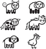 Farm Animal Outlines — Stock vektor