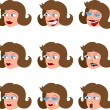 Various Woman's Facial Expressions — Stock Vector