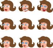Various Woman's Facial Expressions — Stock Vector