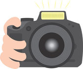 Large Camera Taking Picture — Stock Vector