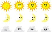 Słońce, księżyc i chmury — Wektor stockowy