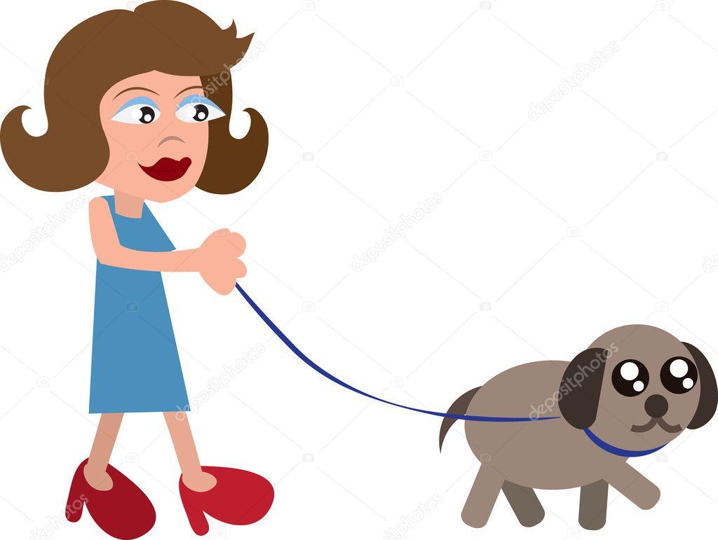卡通女人遛狗用的皮带– 图库插图