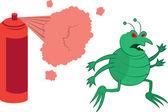 Green Bug Sprayed — Stock Vector