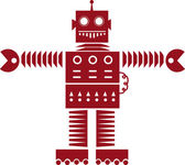 Robot Silhouette Red — Stock Vector
