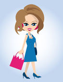 Woman Shopping — Vector de stock