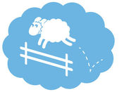 White Sheep Jumping Fence — Stock Vector