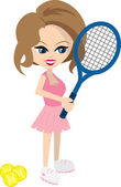 Woman Playing Tennis — Stock Vector