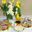 Stock Photo: Festive blessed food on Sunday Easter table