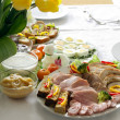 Stock Photo: Blessed food on festive easter table