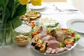 Blessed food on festive easter table — Stock Photo