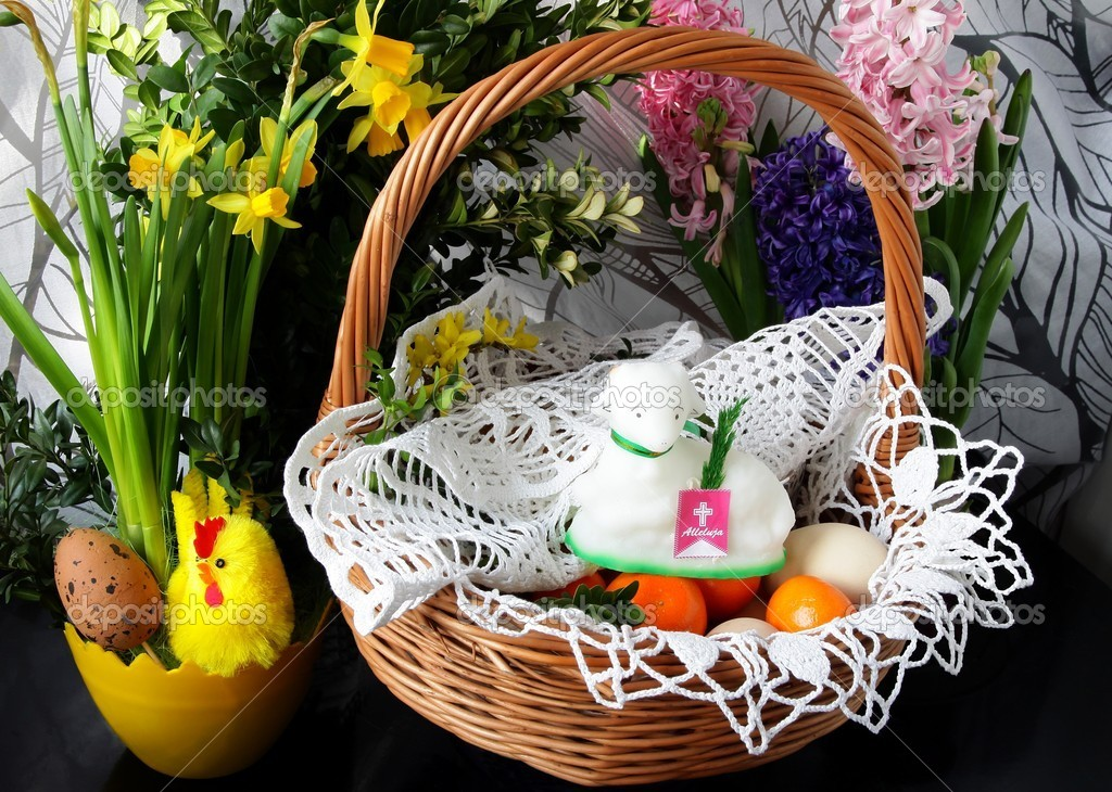 Traditional Easter Basket With Blessed Food And Lamb