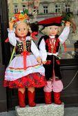 Regional dolls in Krakow's costumes as souvenire — Stock Photo