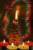 Burning Christmas candles — Stock Photo