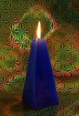Burning decorative christmas candle — Stock Photo