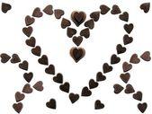 作为象征甜蜜的巧克力心里爱 — 图库照片