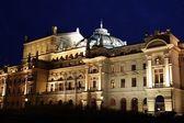 Theatre of Slowacki in Krakow at night — Stock Photo