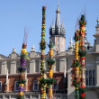 Traditional Easter long palms in Krakow's market square — Stock Photo