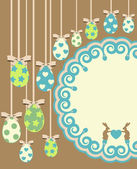 Beautiful easter card with bunny and eggs on lace background — Foto Stock