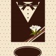 Royalty-Free Stock Vector Image: Vintage background with tuxedo shirt and bowtie close up