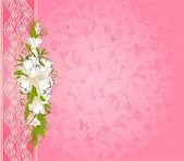 Vintage hintergrund mit spitze ornamente und blumen — Stockvektor
