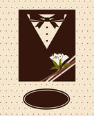 Vintage background with tuxedo shirt and bowtie close up — Stock Vector
