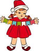 Cartoon little girl in suit Snow Maiden — Stock Vector