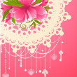 Flowers with lace ornaments on background. — Stock Photo
