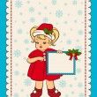 Cartoon little girl in suit Snow Maiden with banner. Vector - Stock Photo