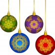 Christmas balls decoration Happy New Year bauble - Stock Photo